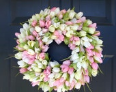 Spring Wreath- Door Wreath- Easter Wreath- Tulip Wreath- Sizes 16-26 inches, custom colors- The Original Tulip Wreath
