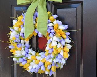 Spring Wreath, Tulip Wreath, Spring Decoration, Door Wreath for Spring Custom Size