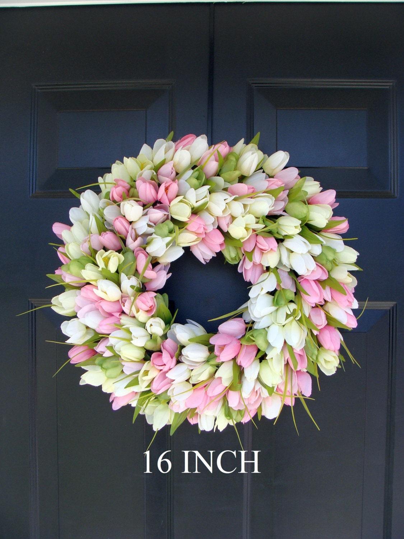 Spring Wreath Door Wreath Easter Wreath Tulip Wreath Sizes