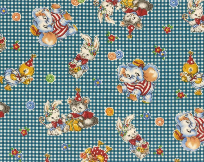 Merry Bon Bon Blue Tossed Retro Elephants and Bunnies cotton fabric by Lecien of Japan.