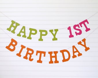 Custom Happy Birthday Banner - 5 inch Letters - 1st Birthday Party Decor Happy Birthday Custom Garland Birthday Party Banner Kids Birthday