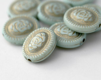 Acrylic Beads Pale Minty Blue Mint Green Gold Acrylic Oval 21mm (10)