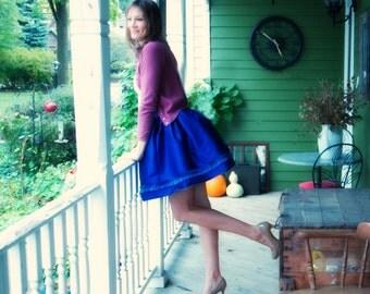 Veronica Jones waits for her Love ~ Gathered mini-skirt in Dupioni silk with raw silk ruffle along hemline ~ pockets at side seam