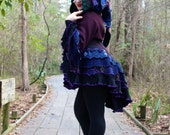 Bustle Coat- Upcycled Sweater Coat with a Medieval Liripipe Hood and Bell Sleeves- by SnugglePants- Custom