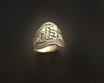 Sea Galleon Ring in Sterling Silver