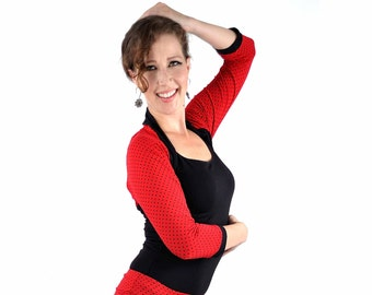 Eco-Friendly Bamboo Shrug Bolero - Red Black Polka Dot 3/4 Sleeve