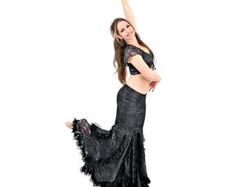 Silver Metallic Black Lace Swan Pants - belly dance, tribal fusion, bellydance, latin dance