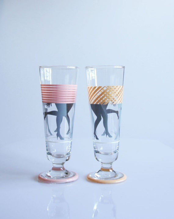 1980 funky disco drinking glasses groovy woman legs glasses - Funky champagne flutes ...