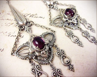 Amethyst, Renaissance, Purple Chandelier Earrings, Medieval Wedding, Handfasting, Pagan Ceremony, Tudor, Garb, Spike Earrings, Millicent