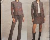 Vogue 2734 Anna Sui - Jacket, Skirt, Pants, Jeans Pattern, Size 12, 14, 16 uncut, factory folds, 2003