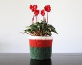 felted wool planter with waterproof lining  - Christmas colors of red, green, and white - hostess gift, holiday decor - made to order -