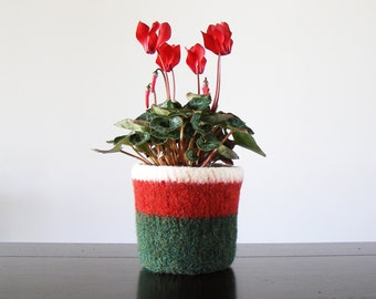 felted wool planter with waterproof lining  - Christmas colors of red, green, and white - hostess gift, holiday decor