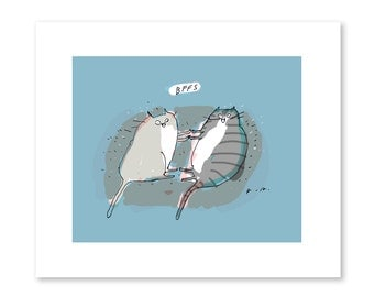 BFFs Cat Print - Cat Art - Best Friends - Cat Gift - Illustration