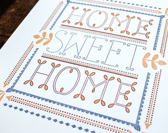 SALE - 8 x 10 Letterpress Print Home Sweet Home