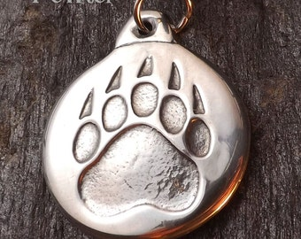 Bear Paw - Pewter Pendant - Power, Spirit, Totem Animal Jewelry, Native American Necklace, - Poured with care by hand in America