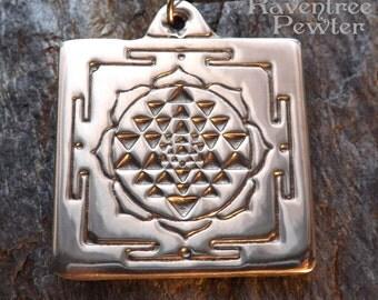 Sri Yantra Mandala - Pewter Pendant - Hindu Jewelry, Indian, Tibetan, Eastern Religions, Spirtual Creation, Spirit Necklace