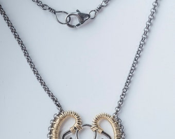 Meena: Two-toned Intricate Filigree Necklace in 14k Solid Gold and Blackened Sterling Silver, Small, Petite, Simple