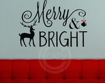 Merry & Bright with Reindeer Christmas Vinyl lettering wall decal home decor art sticker