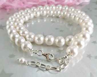 White Pearl Necklace. Classic Single Stand Swarovski Pearls. Sterling Silver Clasp with Adjustable Length. Wedding Jewelry.