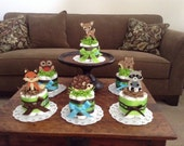 custom Woodland Diaper Cakes Baby Shower Centerpieces in pink and other colors and sizes too