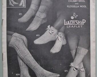 Vintage 1920s Knitting Pattern Womens Bed Socks antique 20s original knitting pattern Ladyship leaflet no. 427 UK
