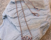 Mini Squiggle Necklace, Oxidized Copper, Minimalist, Wire Jewelry