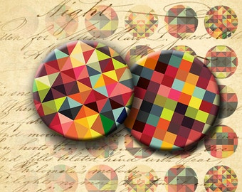Instant Download - Digital Collage Sheet - Abstract Squares and Triangles 1 inch Circles - DigitalPerfection digital collage sheet 1039