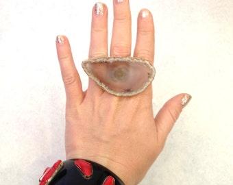Handmade ring Up-cycled ring Oversized ring Chunky ring Raw Crystal ring Gray ring geode ring Statement ring Adjustable ring gemstone ring