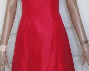 Vintage 50s Red Rayon Custom Made Party Dress Bows at Hem B34