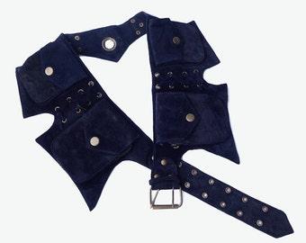 Leather Utility Belt | Navy Blue Suede, 5 pockets | travel, burning man, festival