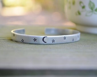 Galaxy Cuff - Moon And Star Bracelet - Celestial - Rustic - Modern - Minimalist - Earthy -  Halloween - Fall - Looks LIke Silver  - Aluminum