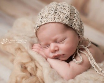 Luxurious Peruvian Highland Wool & DonegalTweed Classic Knit Cable Newborn Bonnet with Braided Ties