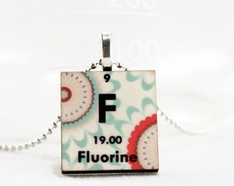 Fluorine Science Pendant Necklace - Chemistry Jewelry, Periodic Table Charm, Gift Idea for Her