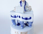 Vintage Mozart playing Piano, Musical Porcelain Figurine, Composer Statue
