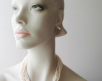 10 strand pearl necklace gold tone choker wedding day jewelry
