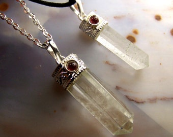 Quartz crystal necklace pendant with Garnet cabochon gemstone - clear Quartz polished stone point - silver cap bead chain or cord