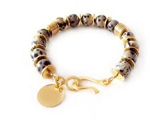 Gold Gemstone Bracelet - Personalized Monogram Initials Tag - Dalmatian Jasper - Brown, Black - The Stoned: 10mm Round Heishi