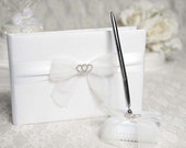 Rhinestone Hearts Wedding Guestbook and Pen Set - C20-25335
