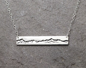Green Mountains Bar Necklace with Backplate