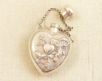 Unusual Vintage Asian Silver Bamboo and Lotus Repousse Heart Flask with Chain Handle