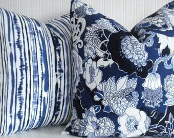 NEW-DURALEE- KIJI- -Both Sides-Decorative Pillow Cover--Designer Fabric - Modern Floral - Blues- Indigo - Winter White Throw / Lumbar Pillow