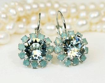 Mint Crystal Earrings Ice Blue Green Swarovski Crystal Drop Halo Earrings Mint Bridesmaid Gift Green Wedding Silver finish,Light Azore,SE96