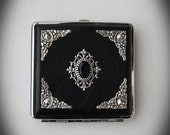 Decorated Cigarette Case Goth Gothic Victorian Silverplated Ornate Black Stone Corner embellishments Cigarette Box Case Smoke Case Smoking