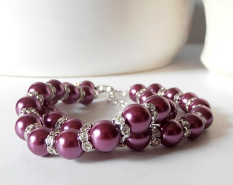 Bridesmaid Jewelry, Sangria Pearl Bracelet with Rhinestones, Double Strand