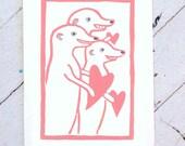 Meerkat Valentine Hand Printed Card