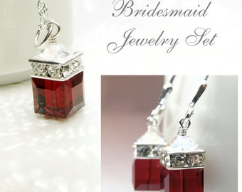 Garnet Crystal Jewelry Set, Red Swarovski Cube Necklace and Earrings, Sterling Silver, January Birthday, Bridesmaid Gift, Christmas Wedding