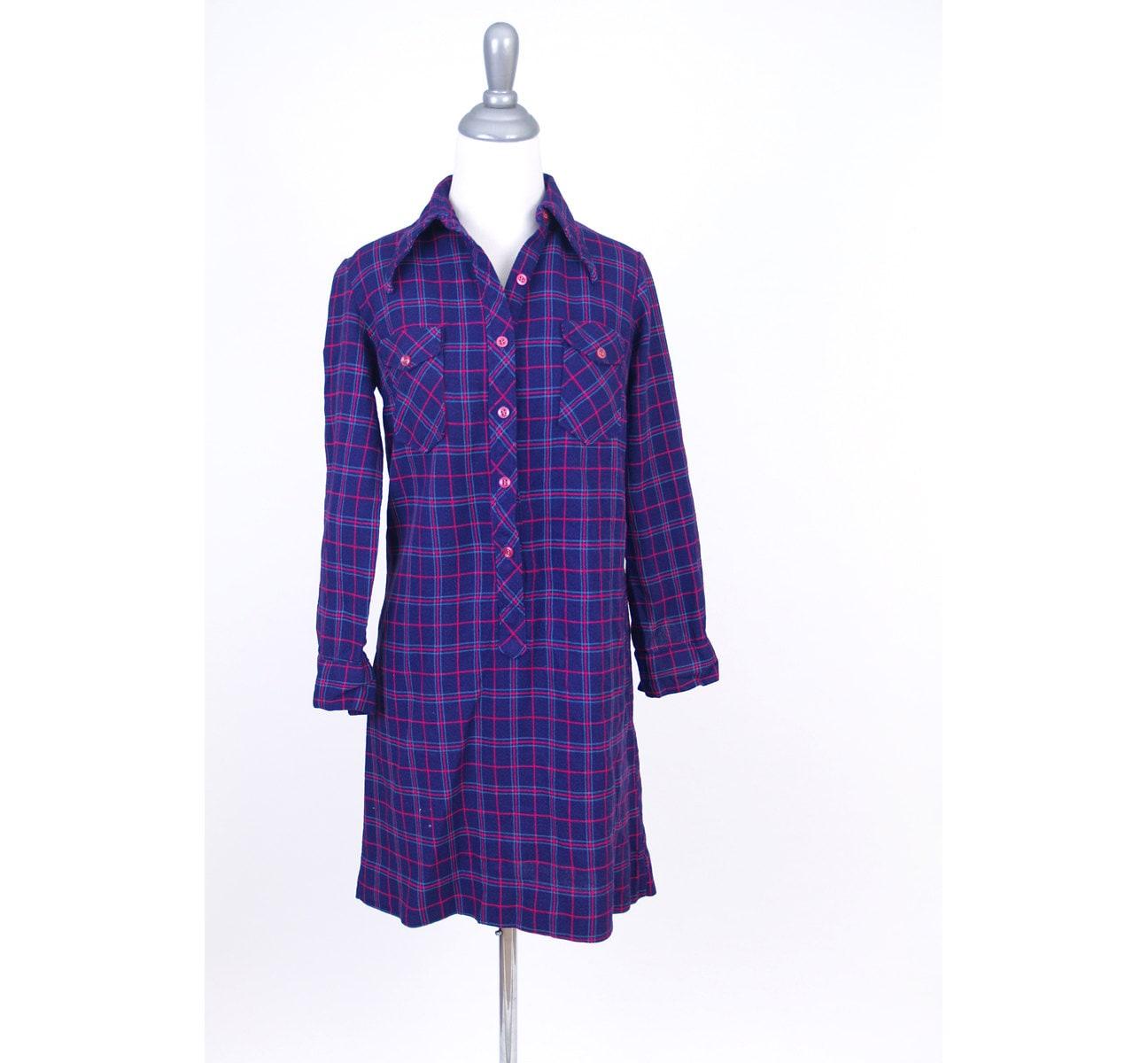 Purple Plaid Shirt Dress S M Grape Pink Blue The Art Shirt