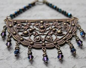 Vintaj Jewelry, Victorian Style Jewelry, Bohemian Necklace, Crystal Jewelry, Fan Filigree, Vintage Looking, Brass Jewelry, Pendant Necklace