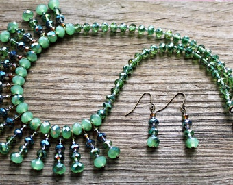 Statement Necklace, Crystal Necklace Set, Collar Fan Necklace, Bib Necklace, Special Occasion Necklace, Green Jewelry, Free Earrings
