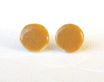 Petite Porcelain Earrings. Curry Glazed Rounds. Amber Gold. Yellow Ochre. Honey. Earthtone. Post/Stud Earrings. Surgical Steel. Minimalist